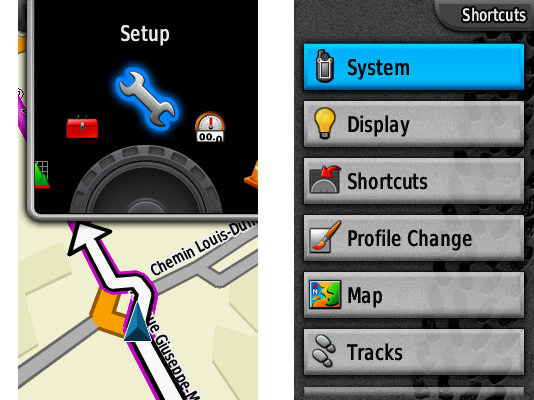Garmin Colorado GPS interface screenshot