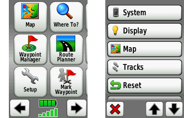 Garmin Oregon GPS interface screenshot