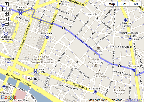 Screenshot of Paris Marais district in GoogleMaps