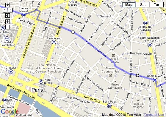 screenshot of paris marais district in googlemaps