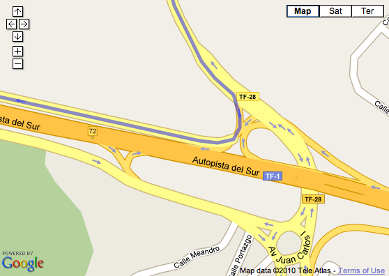 Screenshot of Autopista del Sur of the Tenerife island in GoogleMaps